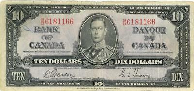 Canada $10 Dollars Currency Banknote 1937