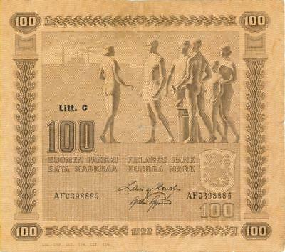 Finland 100 Markka Currency Banknote 1922