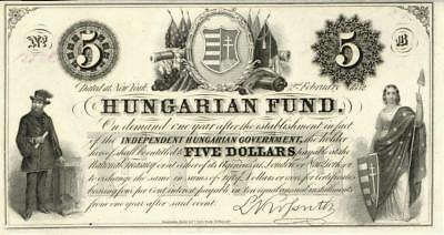 Hungary 5 Forint Currency Banknote 1852  Lajos Kossuth AU