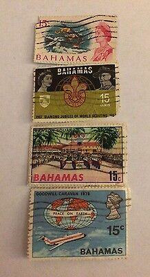 Set of 4 Stamps from the Bahamas; Used