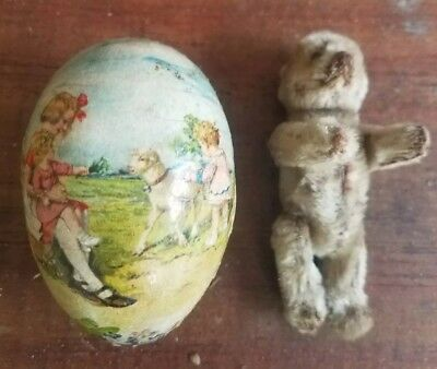 EARLY STIEFF SCHUCO Mohair TEDDY BEAR JOINTED GERMAN  MINIATURE w/ Victorian Egg