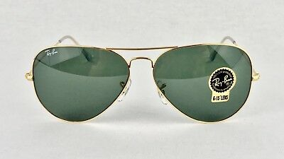 375 RAY BAN Gold Green Classic G-15 Aviator Sunglasses Rb3025 W3234 ... 4740334ac8fb