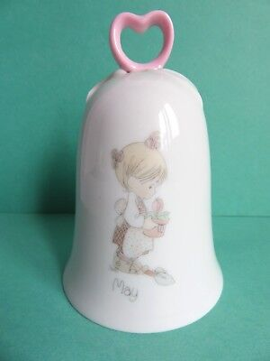Precious Moments Collection May Birthday White Porcelain Bell Pink Heart Handle