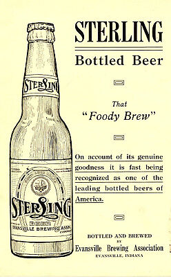 1912 Evansville Brewing Assn, Indiana Sterling Beer Two-Sided Advertisement