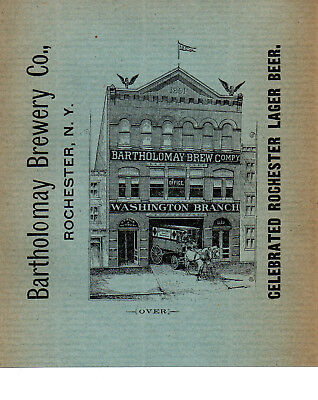 1892 Bartholomay Brewery, Washington D.c. Branch Two-Sided Color Advertisement
