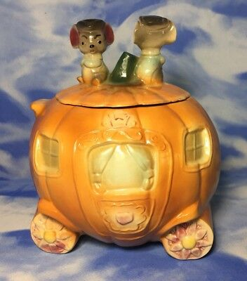 "Adorable 9"" Antique Large Brush Pottery Cinderella Pumpkin Cookie Jar W32 USA"