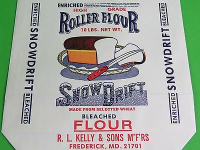 *2 Bags* Snow Drift Roller Flour Paper Bag Kelly & Sons Frederick MD Old Stock