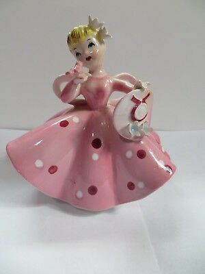 Lefton Figurine Girl in Pink Dress Holding Bird & Hat GC 1450A Lefton's China