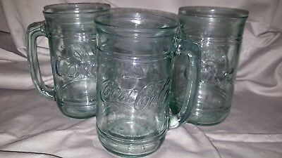 VINTAGE!!  NEW Set of 3 Made in USA Coke Coca-Cola  Green Tinted Glass MugS