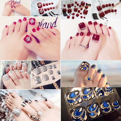 24Pcs/set False Nails Fashion Fake Toe Nails Tips Manicure Nail Art With Glue