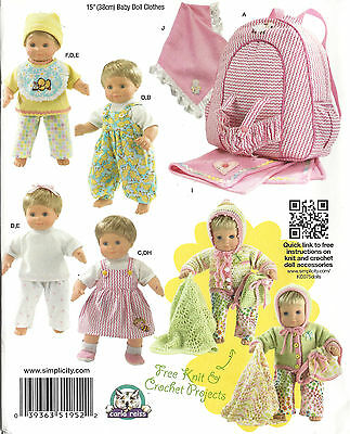 "15"" BABY DOLL CLOTHES, Carrier Simplicity 1952 Sewing Pattern UNCUT Boy & Girl"