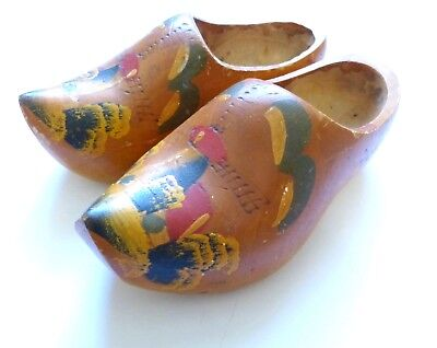 Vintage Dutch Wooden Shoes Windmill Hand Painted Carved Holland Clogs Dance