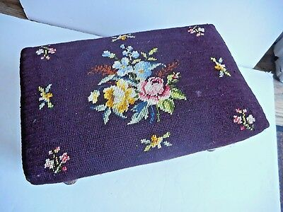 Antique Footstool Needle Point 19th Maybe 18th Century OLD