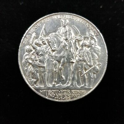 Prussia German States Silver 3 Mark 1913 Defeat of Napoleon, Nice