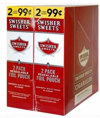 2 BOXES SWISHER SWEETS REGULAR 2 In A Pouch 30 Pouches Total 60 Pcs