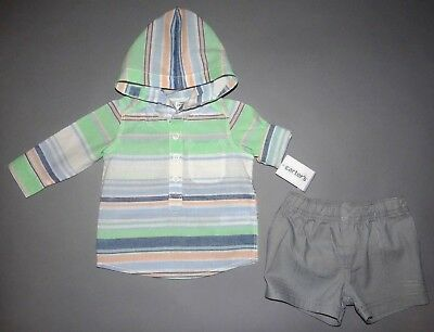 Baby boy clothes, 18 months, Carter's hooded roll-up top/matching shorts