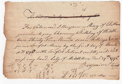 1796 Middletown [Connecticutt] Promissory Note - Benjamin Strong