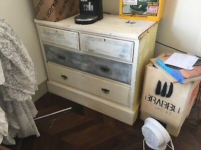 chest of drawers wood victorian painted grey/white original brass drawer pulls..