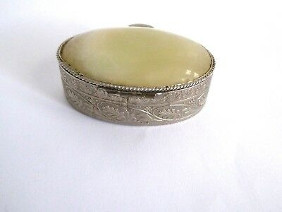 Vintage Silver Plate Set Pale Onyx In Lid  / Small Pill Box / Patch  / Snuff Box
