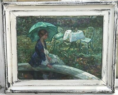 1950/60s French impressionist oil painting of lady  in garden  signed H.Martin