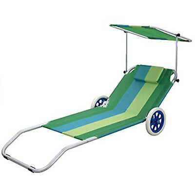 Foldable Beach Chair on Wheels Adjustable Backrest Canopy Sunshade Pool Lounger