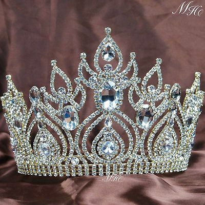 Bridal Wedding Crystal Rhinestone Hair Headband Crown Tiara Prom Pageant Gold