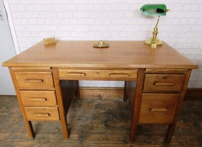 Vintage Oak Twin Pedestal School Teacher's Desk 1930's Industrial Look