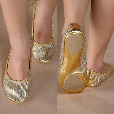 US Women Pro Belly Dance Shoes Slippers Flat Heel Ballerina Leather Sole Shoes