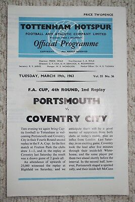 Official Programme Portsmouth v Coventry FA Cup 1963 at Tottenham (Vol 55 No 36)