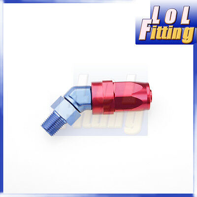 """AN6 AN -6 6AN to 1/8"""" NPT 45 Degree Swivel Hose End Fitting Adaptor Red / Blue"""