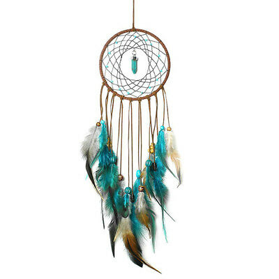 Dream Catcher With Feather Gems Emerald Wall Home Hanging Decor Ornament Gift