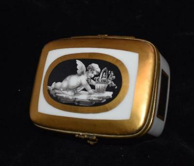"Sevres / Limoges Hinged Snuff /Trinket Box -Cherub w/ Basket of Flowers - 3.5""L"
