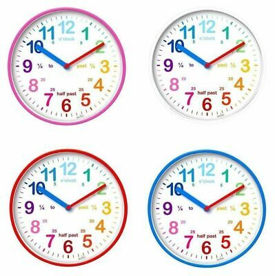 Acctim Wickford Kids Teach/ Learn To Tell Time Childrens Wall Clock Blue /Red