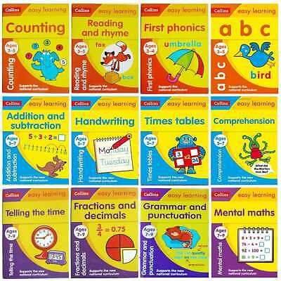 Collins Easy learning Single Workbooks For Children Ages 3-5, 5-7, 7-9 Year, New