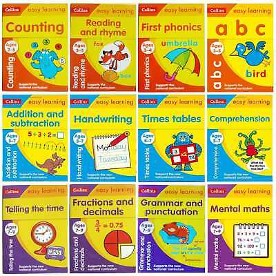 Collins Easy learning Workbooks For Children Ages 3-9 Years, New Nursery KS1 KS2