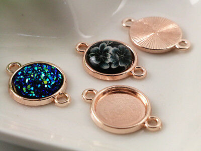 Rose Gold Jewellery Findings   Connector Bases   Fit 12mm Cabochons