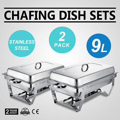2 Set Chafing Dish Stainless Steel 9 Quart Food Warmer Parties Chafer Food  Pan