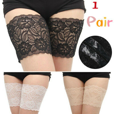 Pair Women Fashion  Non Slip Lace Elastic Socks Anti-Chafing Thigh Pocket Bands
