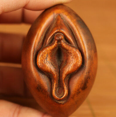 chinese old rare boxwood hand carving door of life statue art netsuke