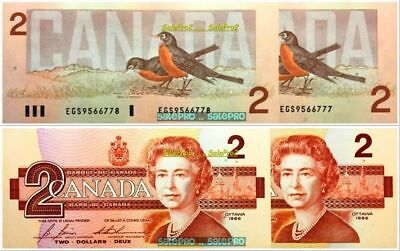 2x CANADA 1986 THIESSEN CROW $2 DOLLAR #EGS9566777 - 778 PAIR BANKNOTE LOT UNC