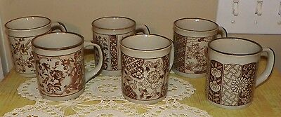 "Enesco Set of 6 ""Oriental"" Brown Tan Mugs Each different beautiful pattern  NEW"