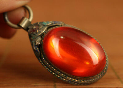 rare chinese old tibet copper hand inlay zircon stone nice pendant noble gift