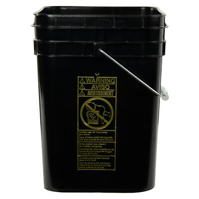 4 Gallon Black HDPE Square Bucket (Lid Sold Separately)