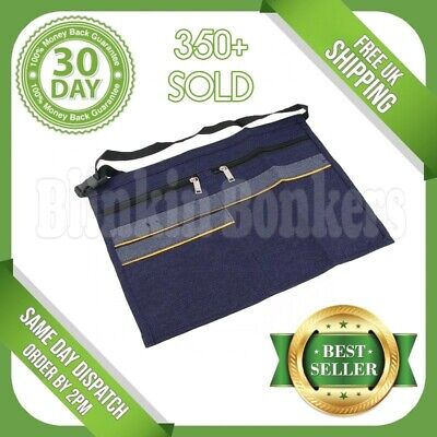 Denim 5 Pocket Market Trader Apron Pouch Money Adjustable Waist Strap Belt Bag