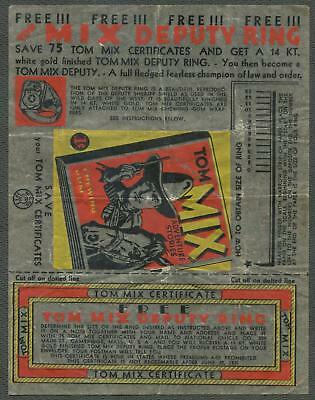 1933 National Chicle Tom Mix Adventure Stories Wrapper