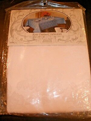 "NEW Rose Damask Tablecloth 52"" X 70"" Oblong Rectangle White with White Flowers"