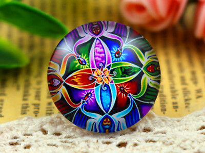 Stunning Handmade Glass Cabochons | 25mm Round | Colourful Mandala Design