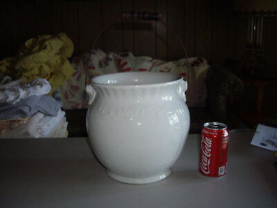 Antique Hall Stoneware Feather Chamber Pot Slop Jar w/ Bail Handle