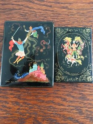 2 Vintage Black Lacquer Russian Box Made In USSR Marked Both Signed!