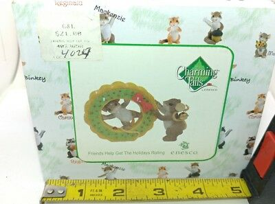 Charming Tails Friends Help To Get The Holidays Rolling Mouse Figurine New
